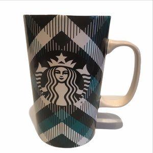 Starbucks 16fl oz / 473 ml Turquoise Plaid Design.